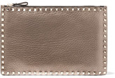 Valentino The Rockstud Metallic Textured-leather Pouch - Gold