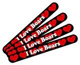 Double-Sided Nail File Emery Board Set 4 Pack I Love Heart Animals A-D - Boars