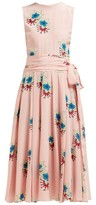 Rochas Floral-printed Silk Crepe De Chine Midi Dress - Womens - Pink Multi