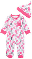 Offspring Geofloral Footie & Hat (Baby Girls)
