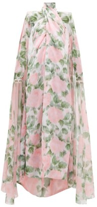 Richard Quinn Crossover Cape-back Floral-print Chiffon Gown - Womens - Light Pink