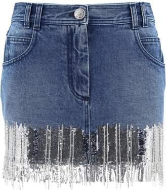 Balmain Fringe Embellished Mini Skirt