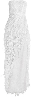 Ralph and Russo Pearl Crystal & Feather Embellished Strapless Gown