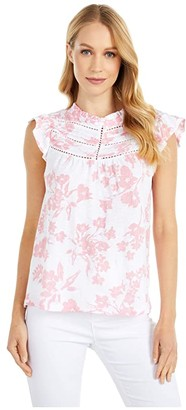 Lucky Brand High Neck Printed Shell (Pink Multi) Women's Clothing