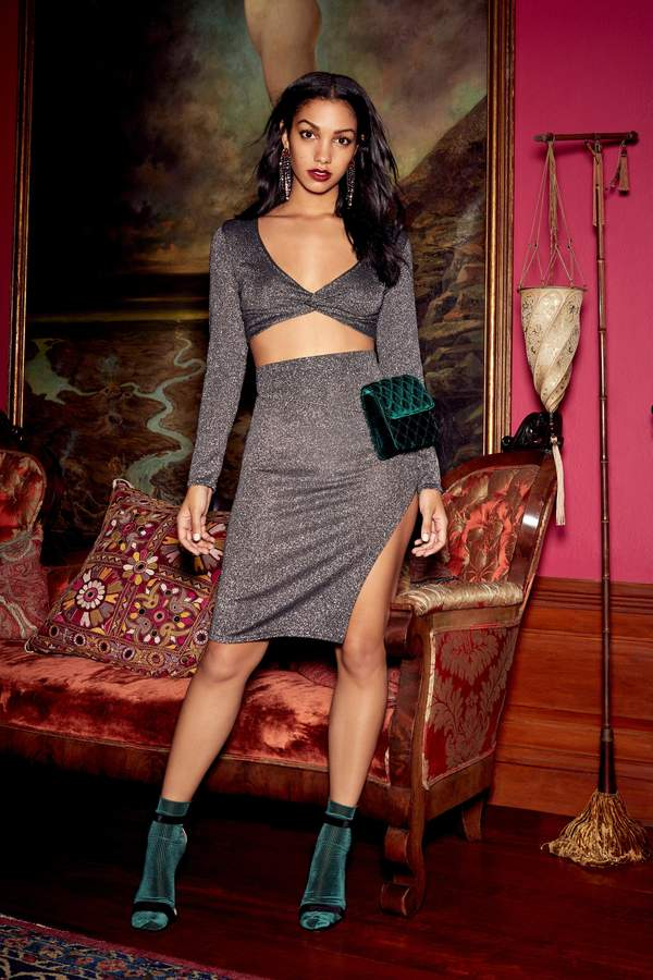 Love Game Glitter Crop Top and Skirt Set