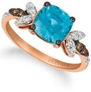 LeVian Le Vian Blue Zircon (2 ct.t.w.), Nude Diamonds (1/5 ct.t.w.), and Chocolate Diamonds (diamond accent) Ring set in 14k rose gold