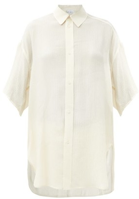 Raey Wide-sleeve Curved-hem Silk Shirt - Ivory
