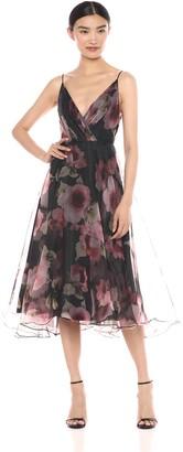 Jenny Yoo Women's Sabrina Tea Length Floral Organza Dress