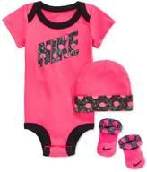 Nike Baby Girls' 3-Piece Dot Bodysuit, Hat & Booties Set