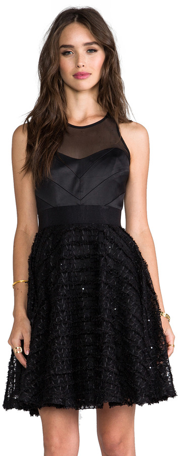 Milly Emb Tulle Chevron Detail Party Dress