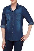 Allison Daley Roll-Tab Sleeve Contrast Back Cotton Denim Shirt