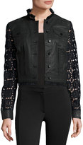 Elie Tahari Meggie Lace-Back Denim Jacket, Black