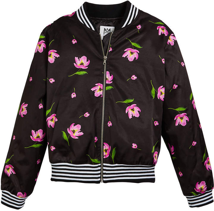 Milly Floral-Print Bomber Jacket, Size 7-16