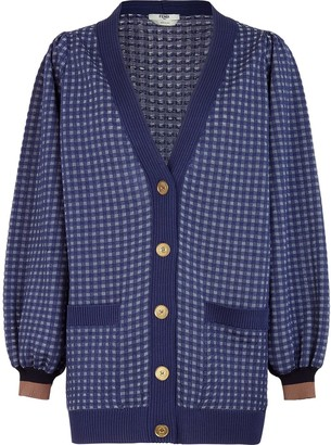 Fendi check-pattern V-neck cardigan