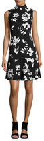 Ivanka Trump Mockneck Floral Print Dress