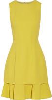 Oscar de la Renta Ruffled Stretch Wool-blend Crepe Dress - Chartreuse