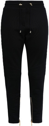 Balmain Cropped French Cotton-terry Tapered Pants