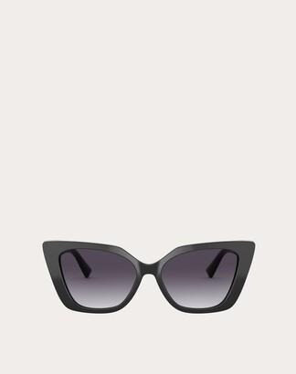 Valentino Vlogo Cat-eye Acetate Frame Women Black/gradient Gray Acetate 100% OneSize