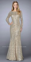 La Femme Fully Sequined Long Sleeve Trumpet Evening Dress