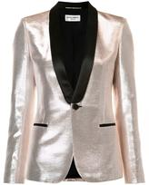 Saint Laurent shawl lapel lustrous blazer - women - Cotton/Lurex/Acetate - 38