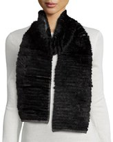 La Fiorentina Layered Fur Scarf, Black/Gray