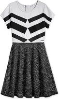 Sean John Geometric Fit & Flare Dress, Big Girls (7-16)