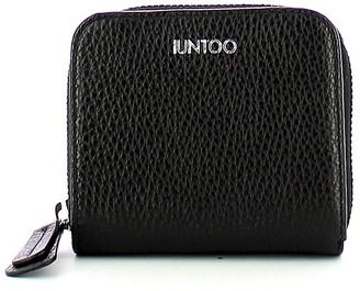 Iuntoo Black Leather Armonia Zip Around Small Women's Wallet