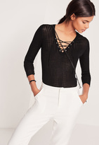 Missguided Lace Up Ribbed Sweater Black