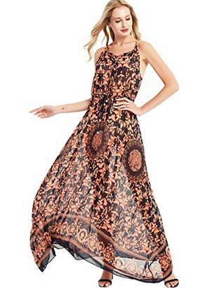 Basic Model Women's Strap Sleeveless Sundress Summer Beach Dress Floral Printed Maxi Dress(
