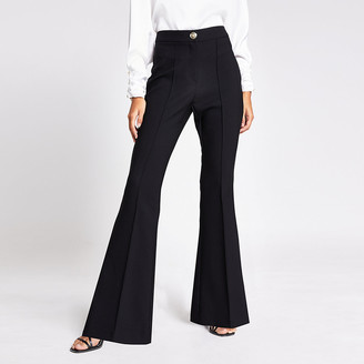 River Island Black flare leg trousers