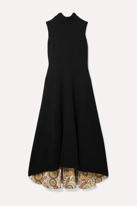 Oscar de la Renta Ornament Silk-trimmed Wool-blend Midi Dress - Black