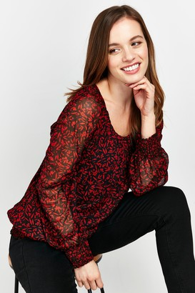 Wallis PETITE Red Leaf Print Puff Sleeve Top