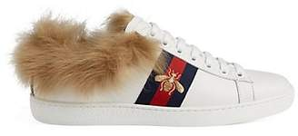 Gucci Women's New Ace Fur-Lined Sneakers - White