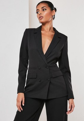 Missguided Tall Black Co Ord Double Breasted Blazer