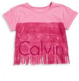 Calvin Klein Jeans Girls 7-16 Girls Cropped Fringe Tee
