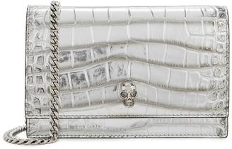 Alexander McQueen Silver crocodile-effect leather clutch