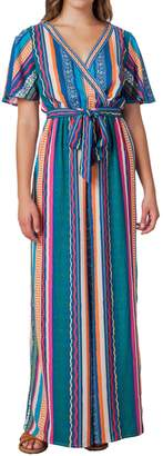 Flying Tomato Striped Wide Leg Wrap Jumpsuit