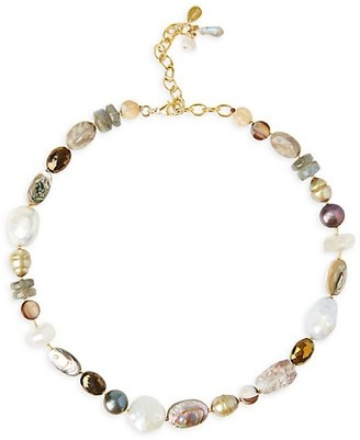 Chan Luu Mixed-Stone, Shell & 7-12MM Multi-Color Pearl Collar Necklace