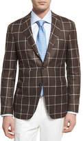 Canali Windowpane Silk-Wool Two-Button Sport Coat, Brown
