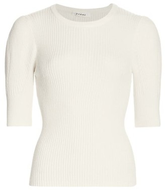 Frame Ribbed Femme Elbow-Sleeve Top