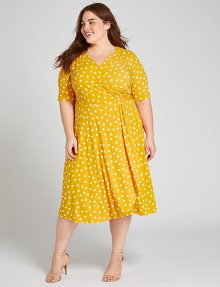 Lane Bryant Textured Crossover Fit & Flare Dress