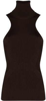 Thierry Mugler Ribbed Knit Turtleneck Top