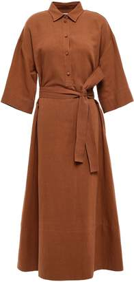 Co Belted Cotton And Linen-blend Midi Shirt Dress