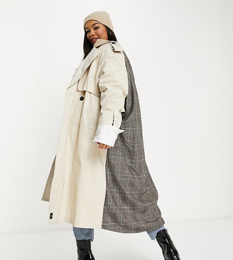 Sixth June Plus oversized trench coat with check back panel