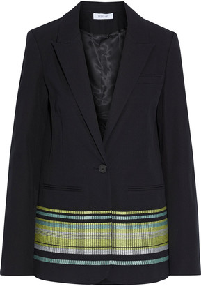 Derek Lam 10 Crosby Embroidered Stretch-cotton Blazer