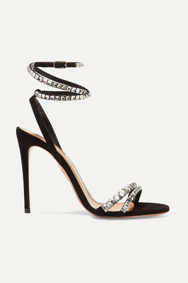 Aquazzura So Vera 105 Crystal-embellished Suede Sandals - Black