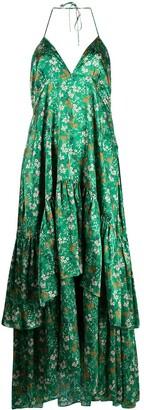 L'Autre Chose Floral-Print Tiered Silk Dress