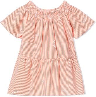 BURBERRY KIDS Striped Tiered Dress
