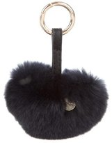 Yves Salomon Fur Heart Keychain