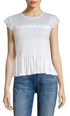 Rebecca Taylor Short-Sleeve Smocked Jersey Top